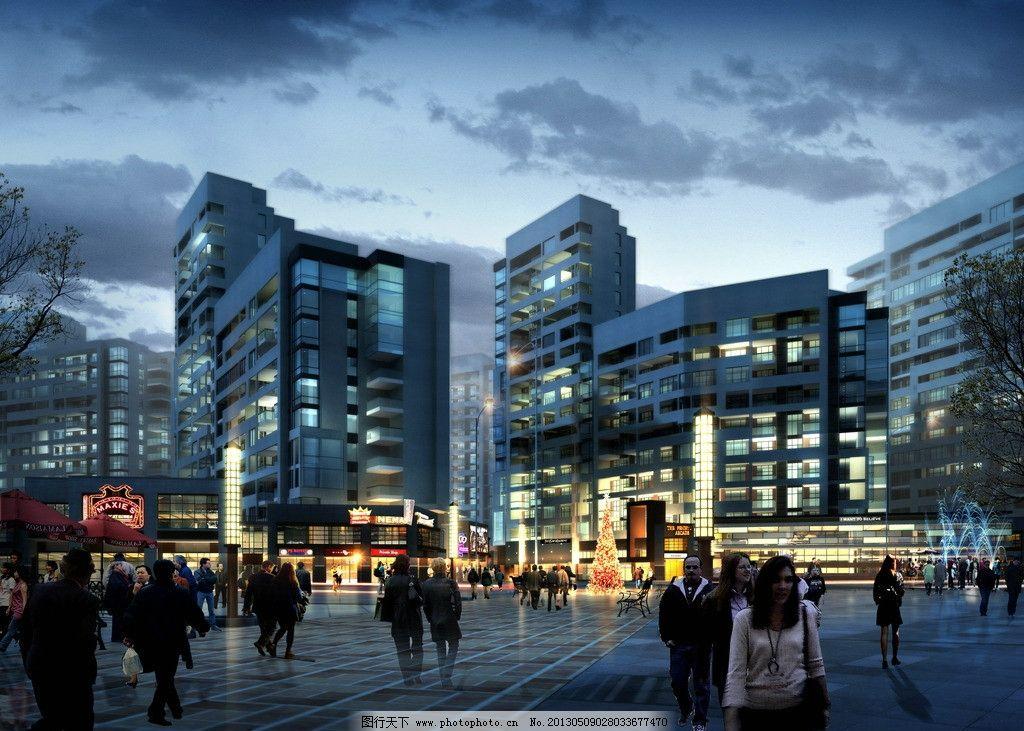 筑效果图 商业综合体 建筑设计效果图 psd模板下载 单体建筑效果图 临
