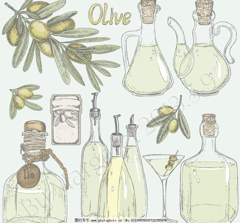 瓶子矢量素材 橄榄油瓶子模板下载