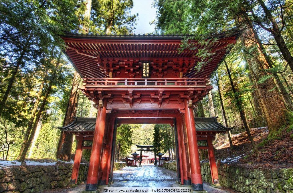 日本牌坊 日本 牌坊 日本古建筑 树木 古树 清爽 高动态建筑摄影 建筑