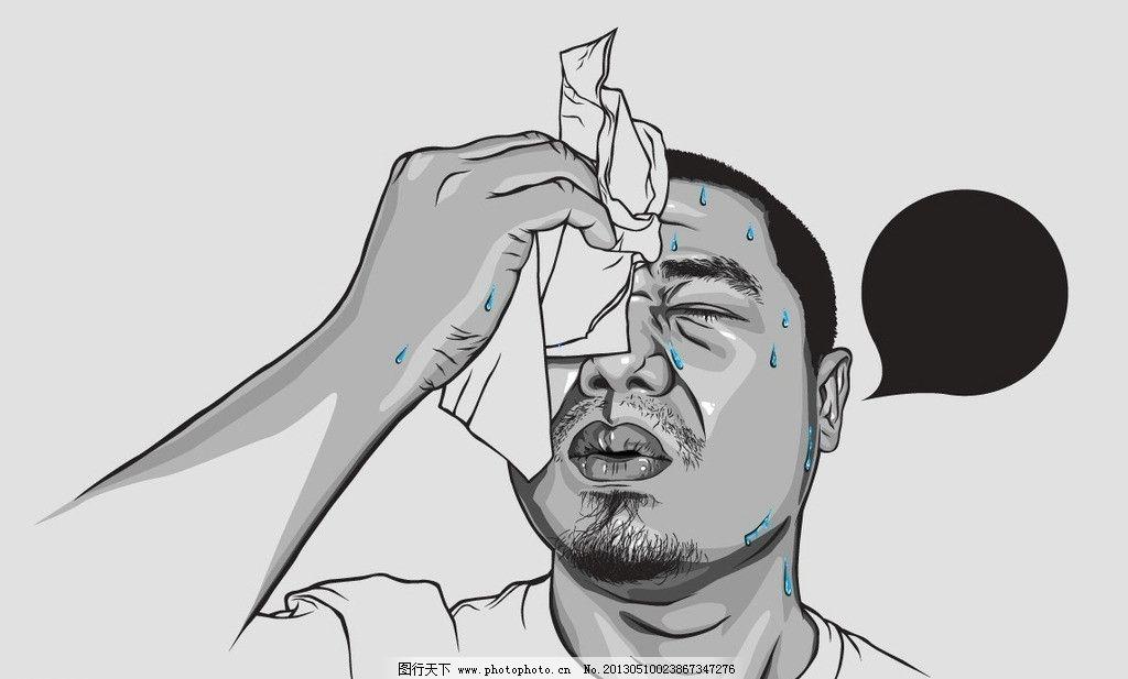 擦汗 热 流汗 纸巾 对话气泡 中年人 男人 男性 平头 胡须 生病 男人