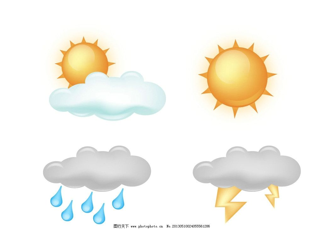 天气图标 图标 标志 标识 天气预报 多云 晴天 太阳 乌云 雷电 中雨图片
