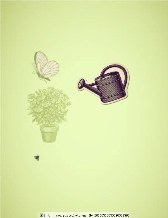 可爱的盆栽 小树 蝴蝶 植树节 浇灌 卡通款盆栽 矢量素材 其他矢量