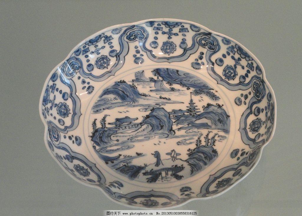 青花瓷盘 青花瓷 瓷器 陶瓷 彩绘 绘画 工艺品 盘子 碟子 传统文化