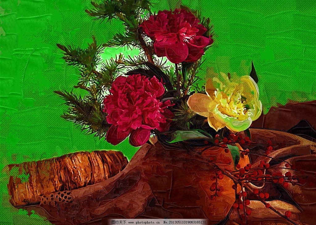 油画花卉 花插 静物 静物写生 艺术 装饰画 墙装饰 绘画 插花