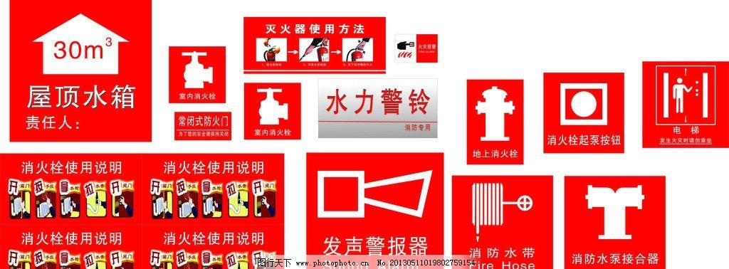 消防使用标志 消火栓使用说明 火灾报警 室内消火栓 消防水带 发声