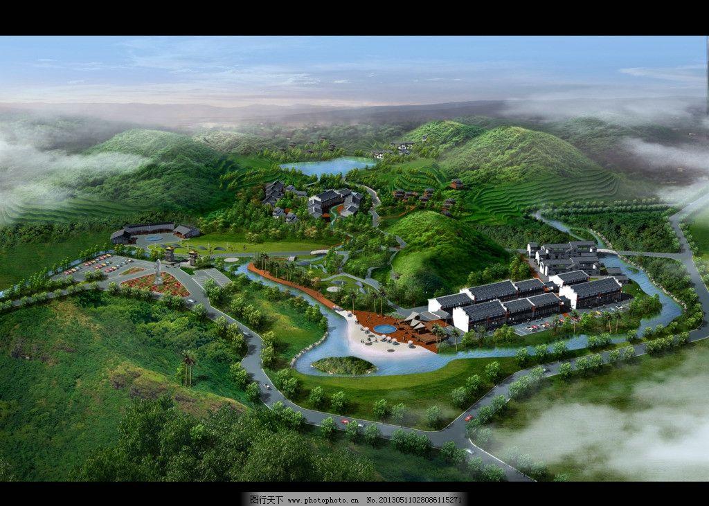生态豪宅俯视图鸟瞰图片_建筑设计_环境设计_图行天下