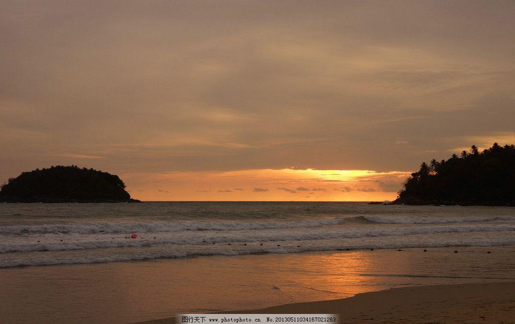 夕阳下的普吉岛海边 泰国 普吉岛 海边 夕阳 夜景 海浪 海岸 自然风光