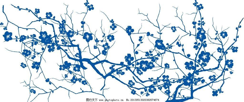陶瓷 手绘花纹 花卉 花矢量 植物矢量 青花矢量图 青花瓷盘 装饰画