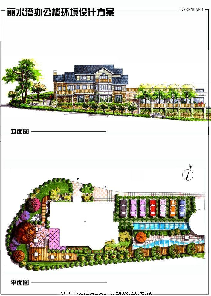 别墅手绘效果图 别墅 手绘        景观 汽车 绿地 马克笔 建筑设计