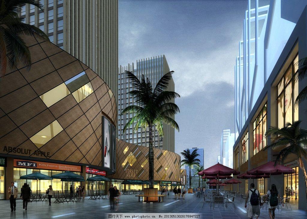 內街透視 商業街 夜景 透視 街景 現代風格 景觀設計 環境設計 設計