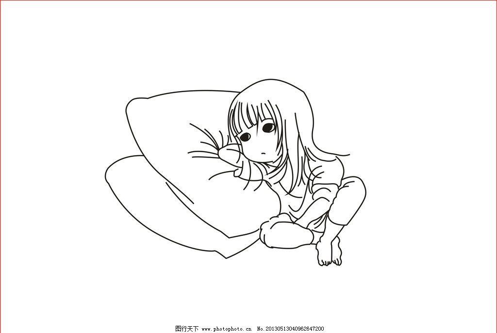 儿童睡姿 儿童 睡姿 枕头 婴儿 手绘 儿童幼儿 矢量人物 矢量 cdr