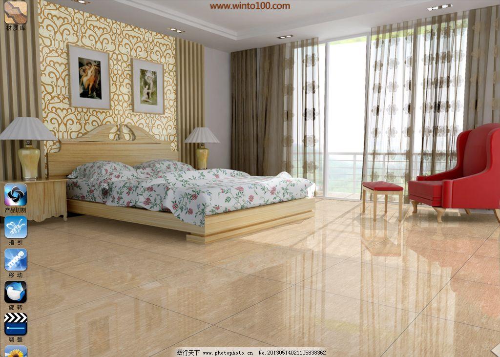 田园卧室 地砖 田园卧室效果图 床 窗户 窗帘 3d作品 3d设计 设计 72图片