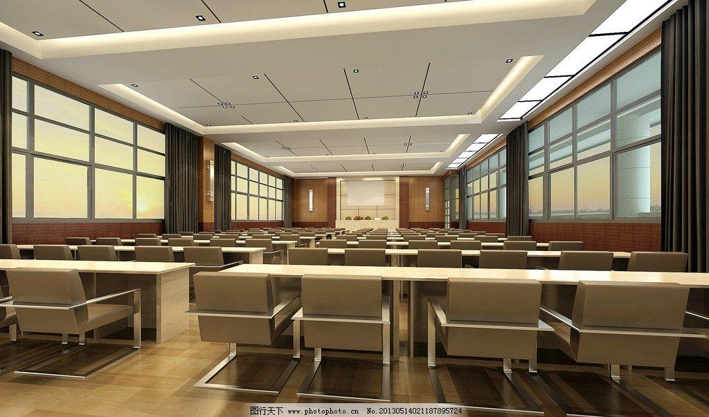 学校会议室 会议室        学校 吊顶 地面 窗户 3d作品 3d设计 设计图片