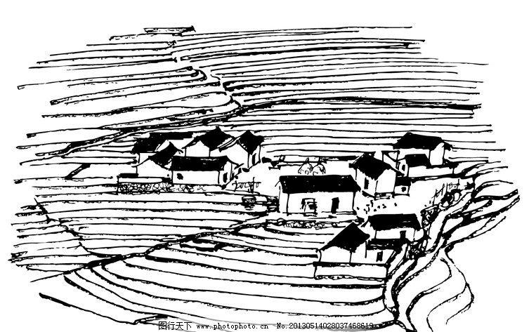 民居线稿 民居 线稿 手绘 远景 梯田 群居 传统建筑 建筑家居 矢量 ai