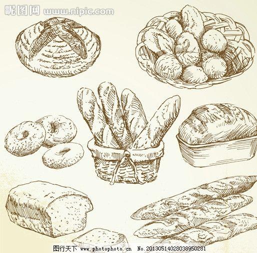 手绘食物 手绘 线稿 插画 速写 素描 食物 咖啡厅 西餐 蛋糕 面包