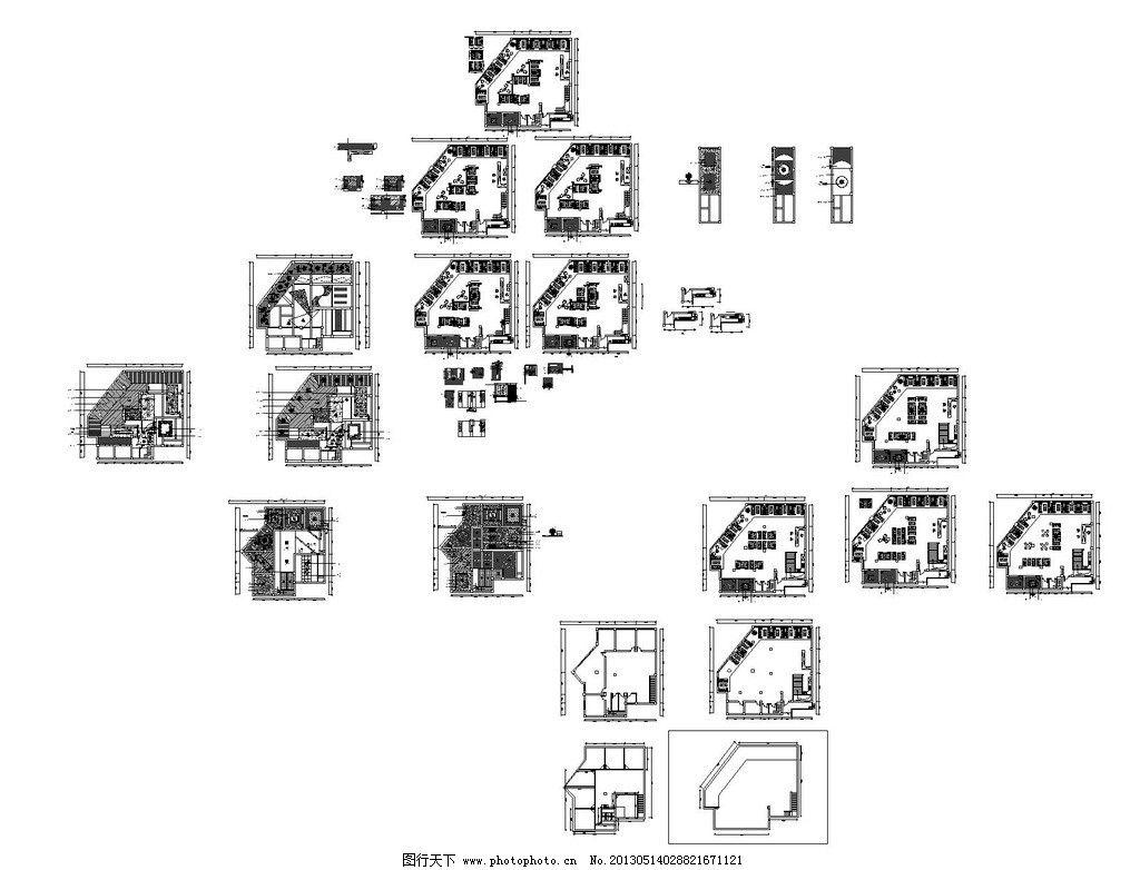 茶楼cad装修设计图图片,施工设计 原始结构图 平面图