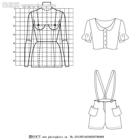 服装款式图( 人台) 服装款式图 上衣 裤子 人台 黑白 服装设计 广告