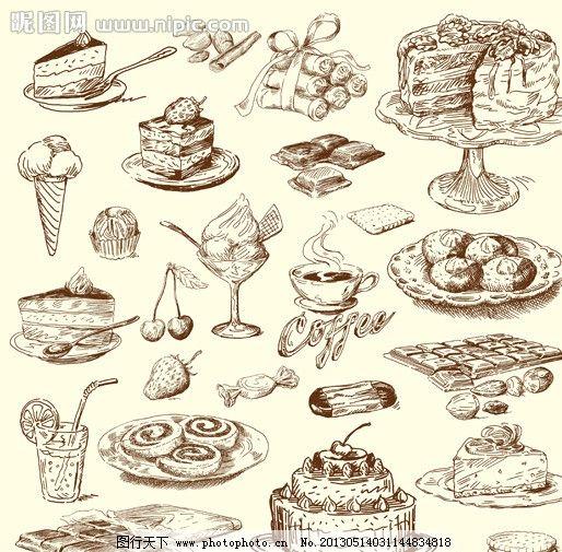 手绘食物 线稿 插画 速写 素描 咖啡厅 西餐 蛋糕 红酒 酒杯