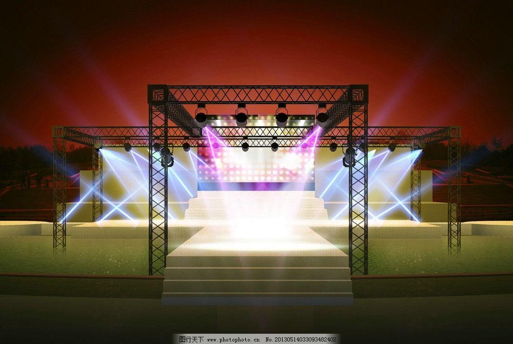 水上舞台效果 舞台 效果 灯光 展会 夜景 psd分层素材 源文件 300dpi图片