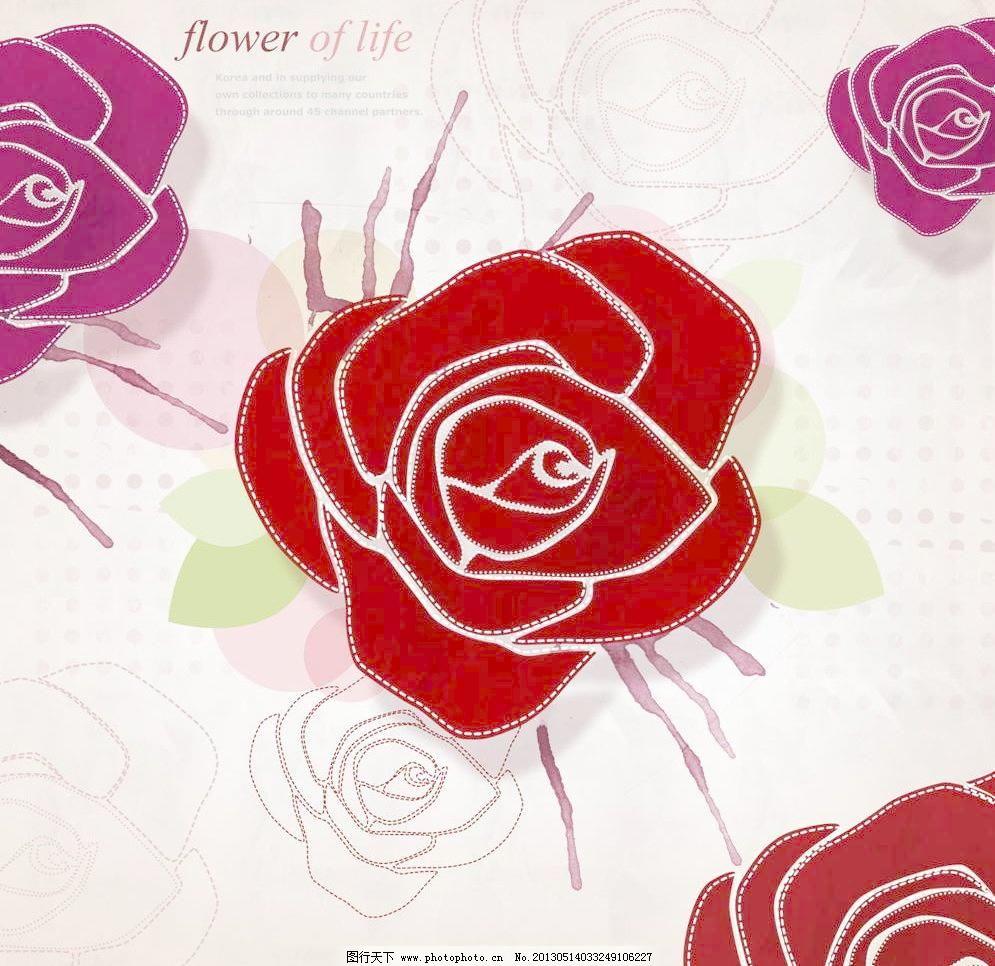 玫瑰花 百花盛开 彩绘 插画设计 动漫设计 繁花 广告设计 花瓣