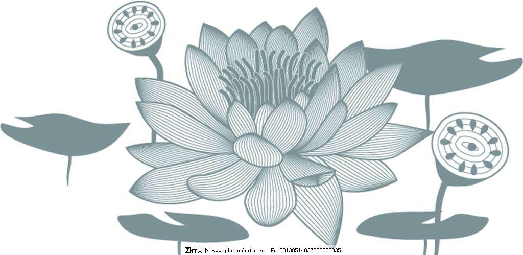 荷花荷叶 荷花 荷叶 莲花 莲藕 美丽鲜花 花纹 娇艳 花纹图案 花朵