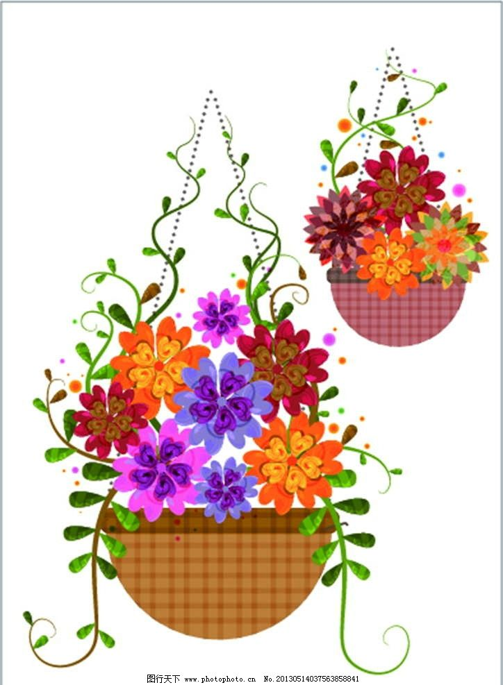吊兰 花篮 美丽鲜花 鲜艳 百花盛开 花纹 娇艳 花纹图案 花朵图案
