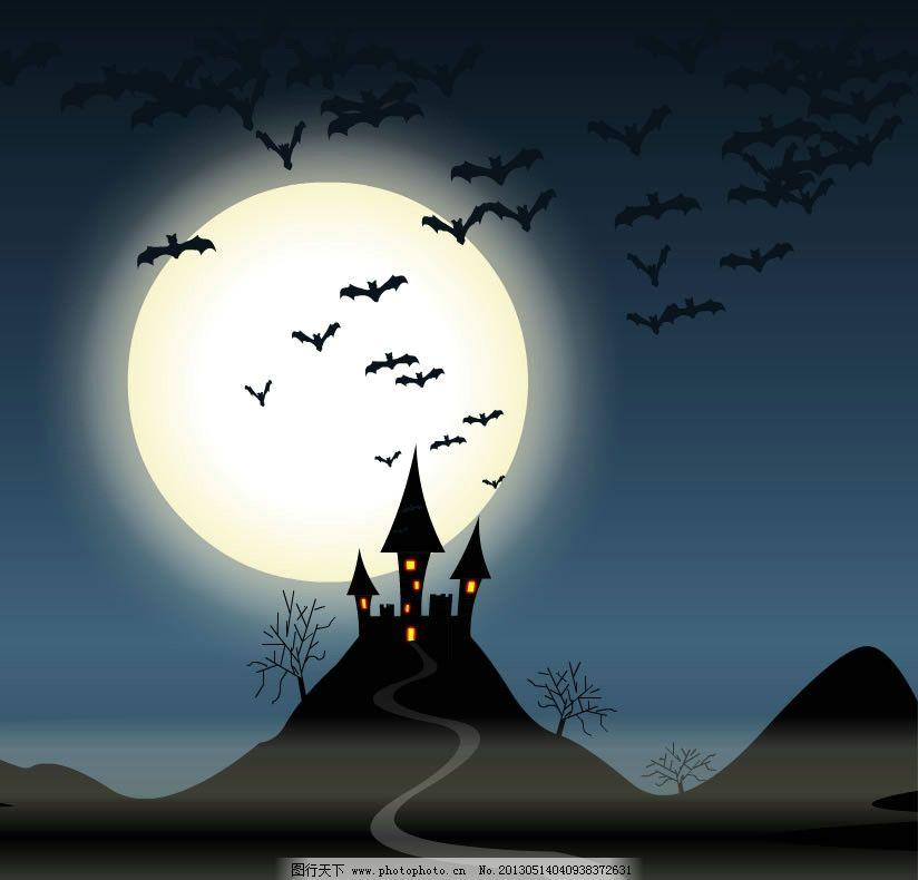 古堡月夜 月夜城堡 月夜 绘画 月亮 夜晚 黑夜 星星 星空 晚上 天空