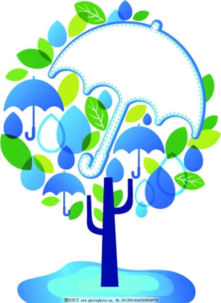 雨伞树 雨滴 大树 绿树 树叶 背景图案 手绘 漫画 彩绘 水彩画