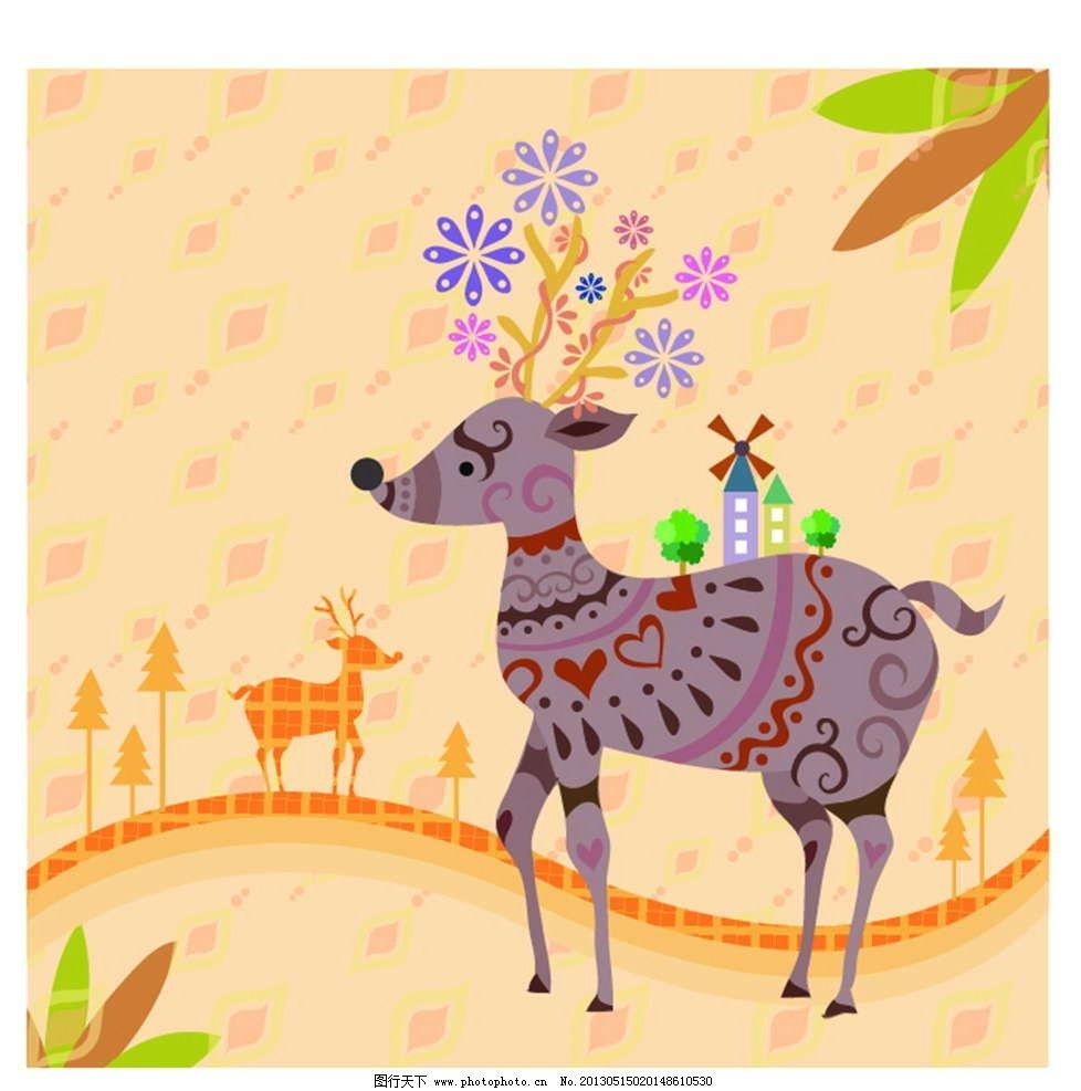 梅花鹿 小鹿 花纹图案 花朵图案 背景花纹 背景底纹 鲜花图案 手绘