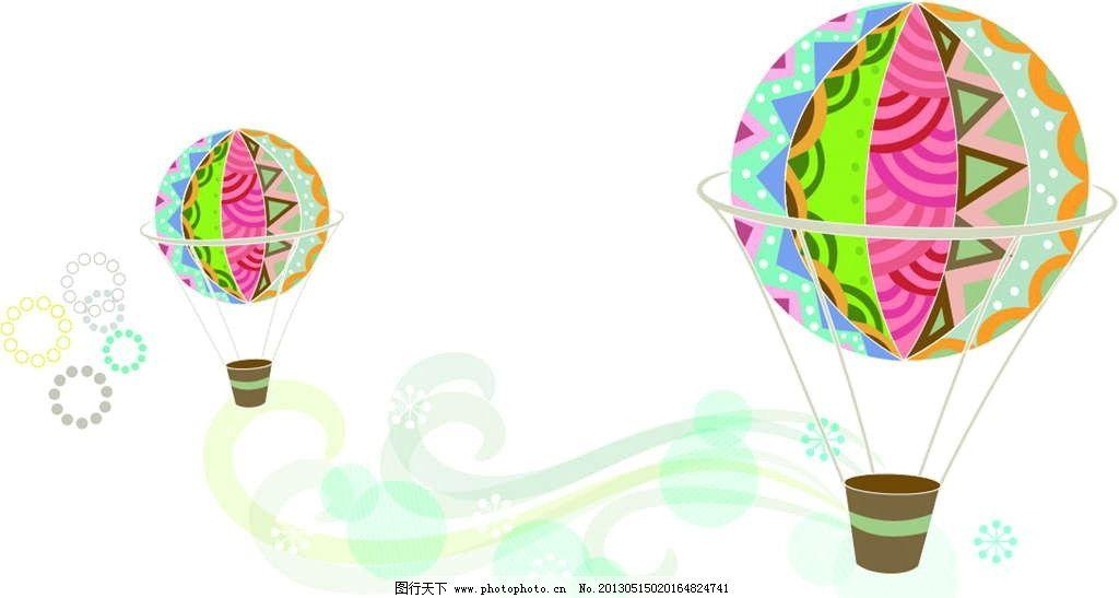 热气球 飞翔 花纹图案 花朵图案 背景花纹 背景底纹 鲜花图案 手绘