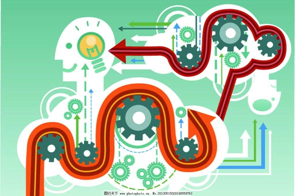 工业设计 工业革命 齿轮 箭头 灯泡 手绘 漫画 彩绘 水彩画 卡通 动漫