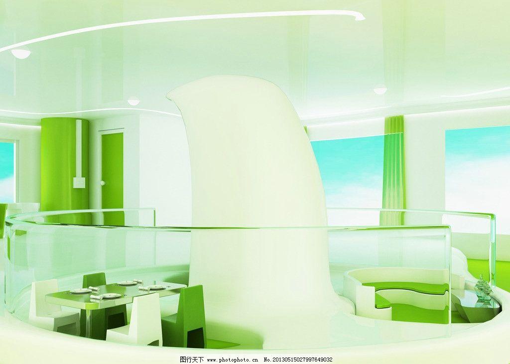 室内设计 室内 餐厅 桌椅 流线型 绿色 环境设计 设计 300dpi jpg