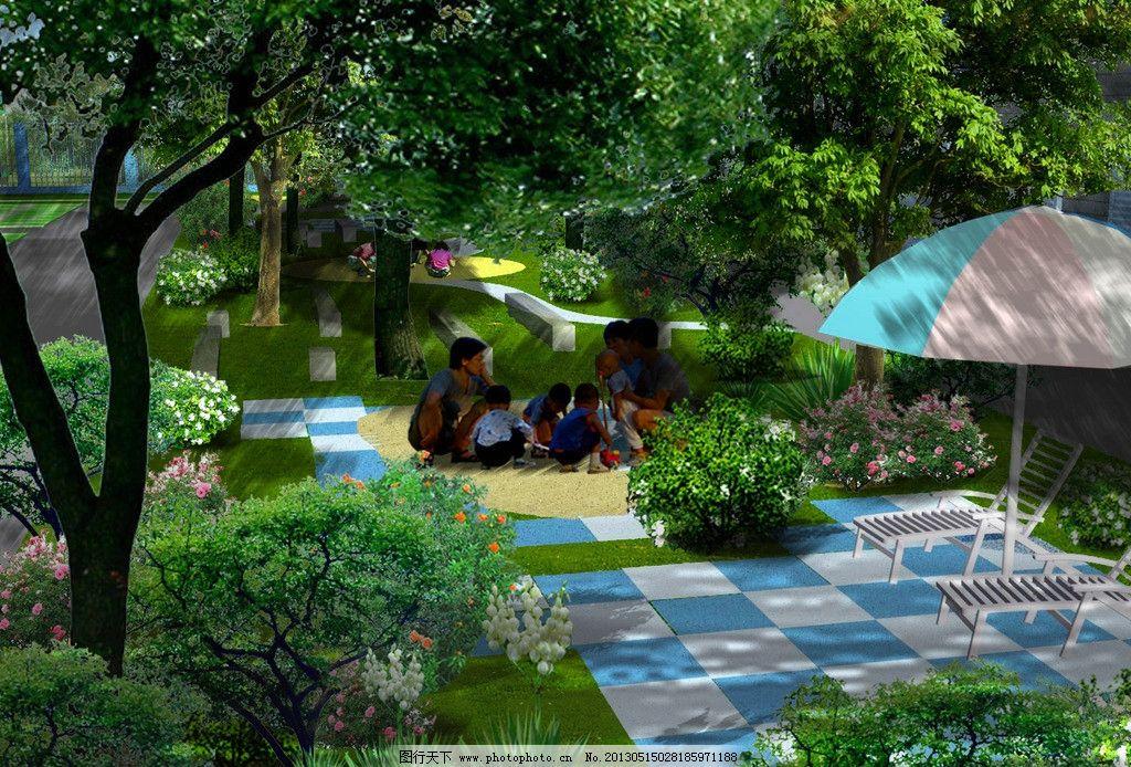 小区宅间绿地效果图 小区景观设计 宅间绿地 庭院景观 公共空间
