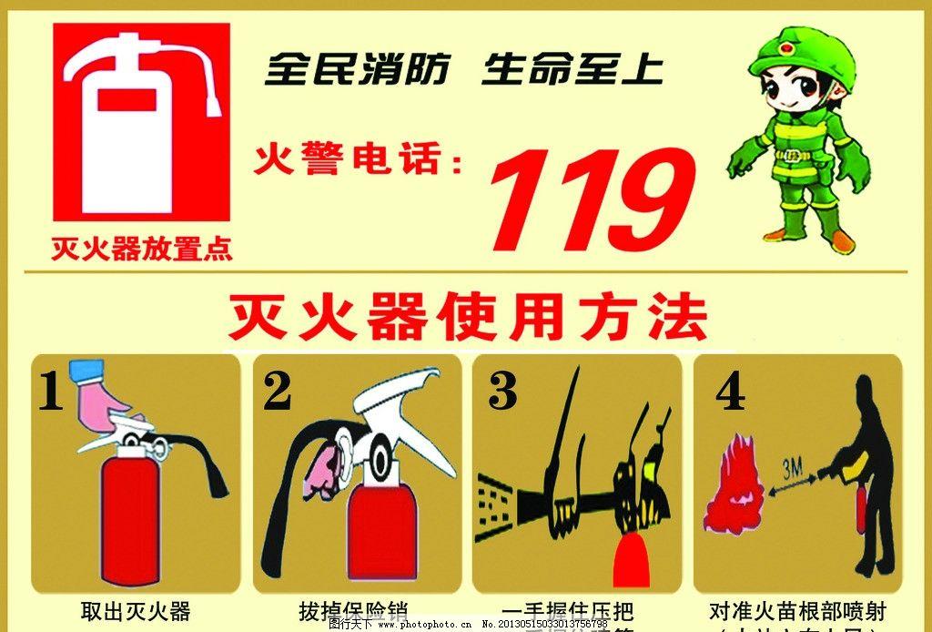 灭火器 灭火器使用方法 119 灭火步骤 消防 火警 psd分层素材 源文件