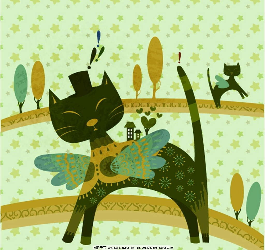 黑猫 小猫 猫咪 花纹图案 花朵图案 背景花纹 背景底纹 鲜花图案 手绘