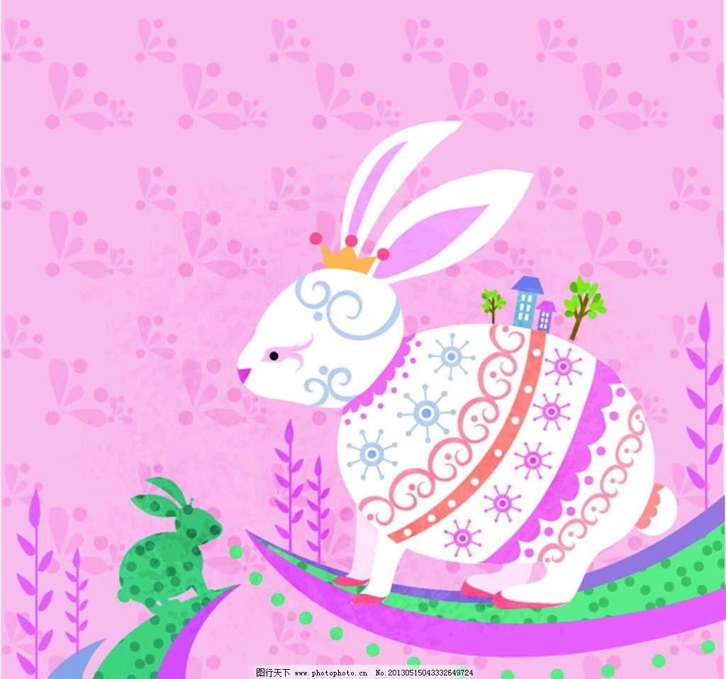 小兔子 小白兔 建筑 花纹图案 花朵图案 背景花纹 背景底纹 鲜花图案 手绘 漫画 彩绘 水彩画 卡通 动漫风格 梦幻世界 幻想世界 卡通世界 卡通设计 广告设计 动漫设计 绘画 绘画设计 插画设计 漫画设计 手绘设计 炫丽 梦幻 唯美 童话世界 矢量卡通设计 矢量 AI
