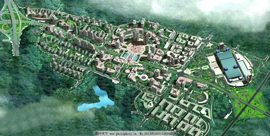 园林鸟瞰图 室外效果图 绿化 草地 后期 建筑 渲染图 高清 写真