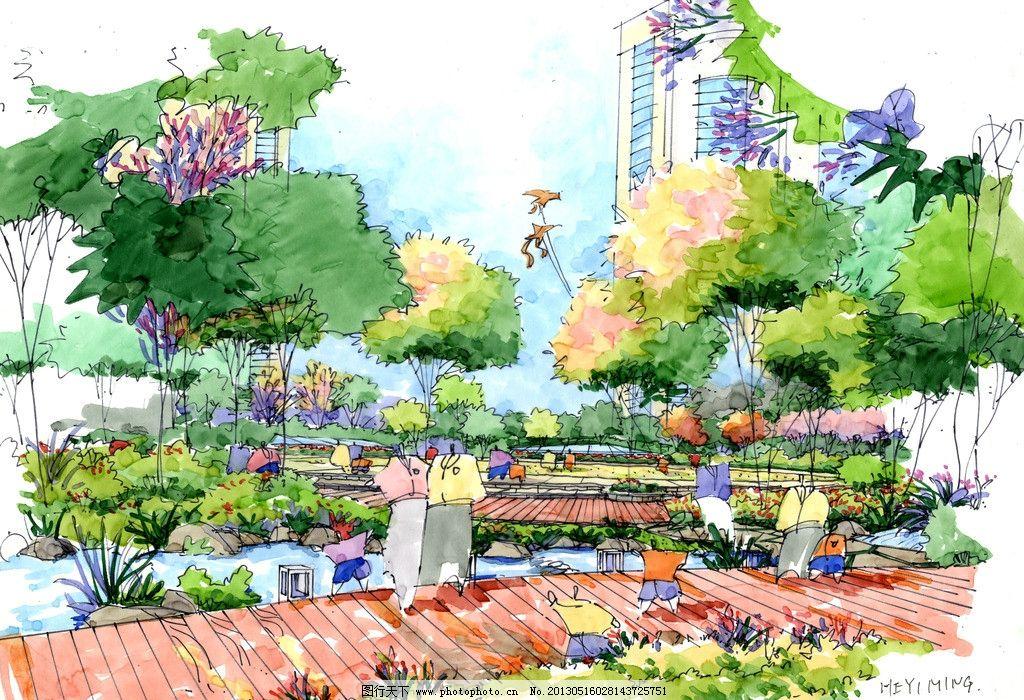 医院 手绘图        方案设计图 景观设计 木地板 树木 环境设计 设计