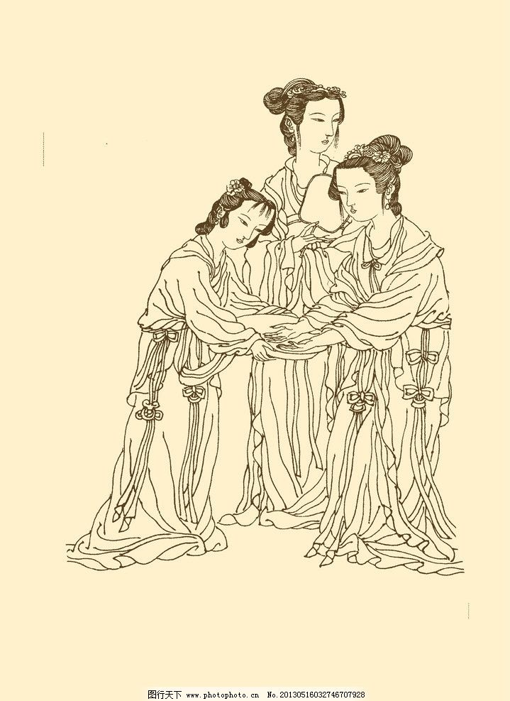 侍女 侍女线描 仕女 仕女线描 白描 国画 中国画 人物 女性