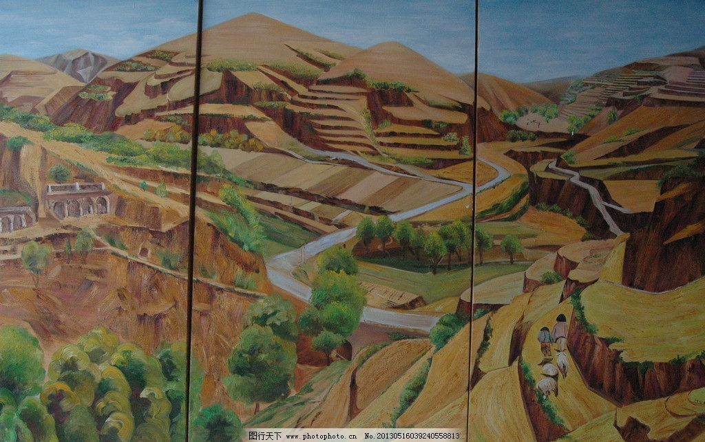 油画风景 油画 风景 植物 沙漠 壁画 拼贴画 路 山路 美术 艺术 美术