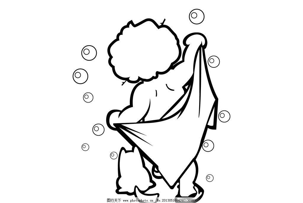 洗澡小娃娃 气泡 水泡沫 小猫 小孩子 澡巾 背影 儿童幼儿 矢量人物