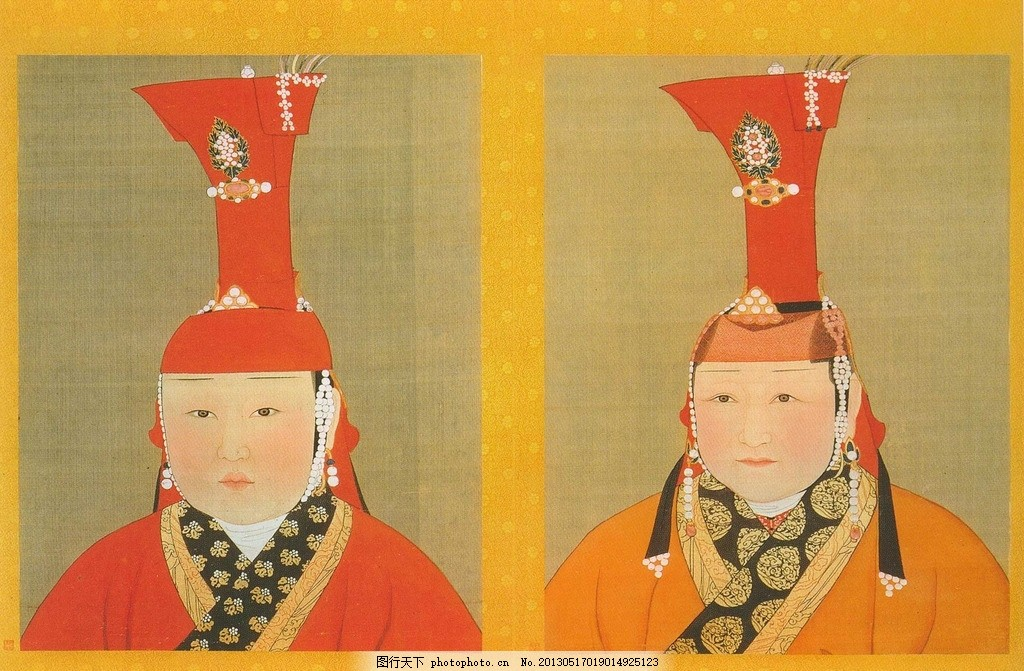 元朝皇后像 元代 古代 人物画 画像 肖像 贵族 皇室