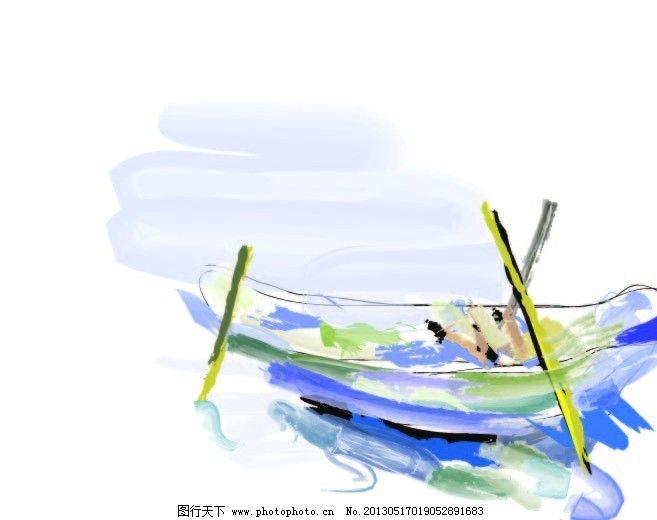 手绘船 矢量图 绘制 橙 美术绘画 文化艺术