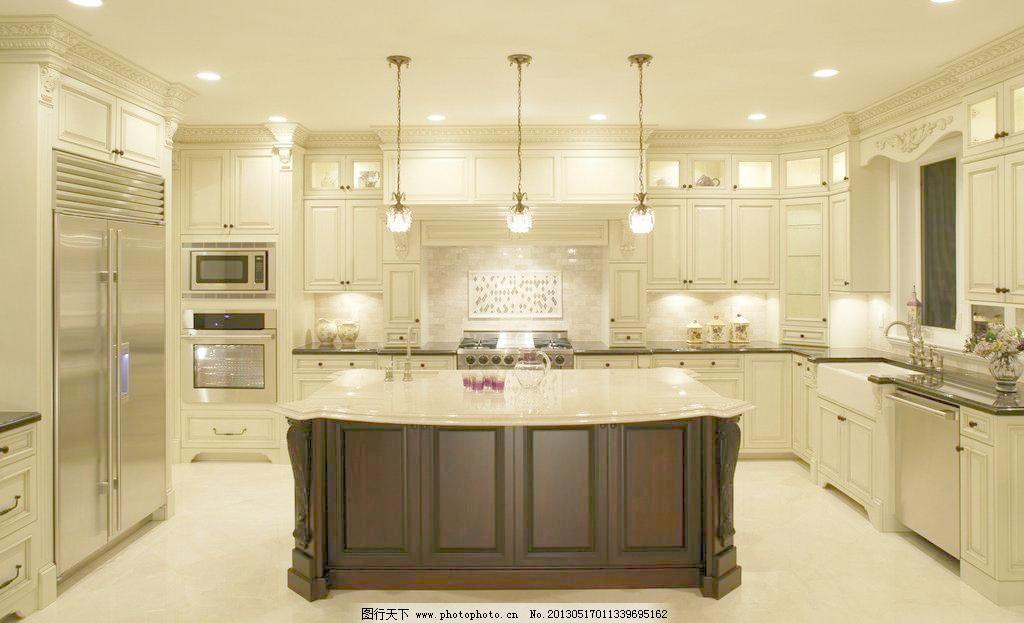 精装 厨房图片素材下载      室内装修设计 吊灯 欧式 微波炉 冰箱