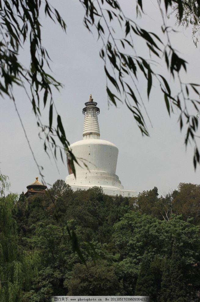 北海白塔 北京 北海 公园 白塔 杨柳 柳树 风 绿树 树林 园林 园艺