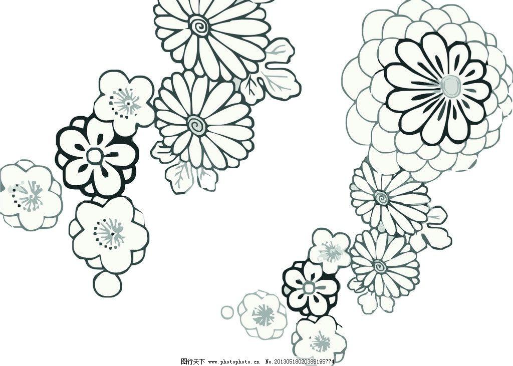 底纹背景 矢量花纹 花 绚丽花纹 手绘花儿 花纹花边 底纹边框 矢量