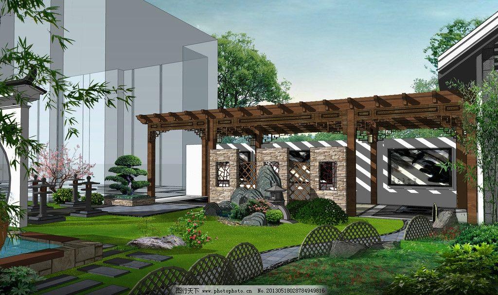 小庭院 景观 园林 围墙