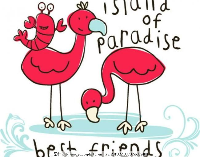 广告设计 火鹤矢量素材 火鹤模板下载 火鹤 非洲火烈鸟 龙虾 插画