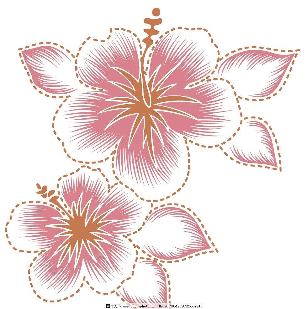 花朵花纹 花朵 印花 虚线 服装 图案 花边花纹 底纹边框 设计 72dpi
