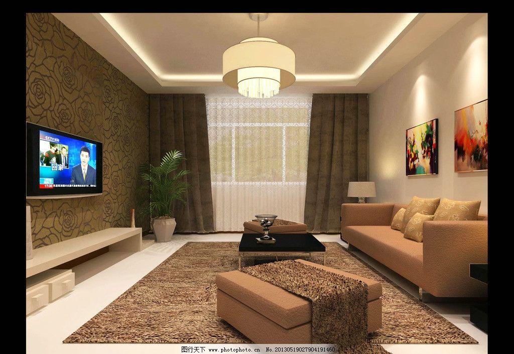 客厅装修效果图      3d效果图 装修效果图 沙发 电视机 窗户 挂画